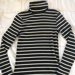Grey and White Striped Turtleneck